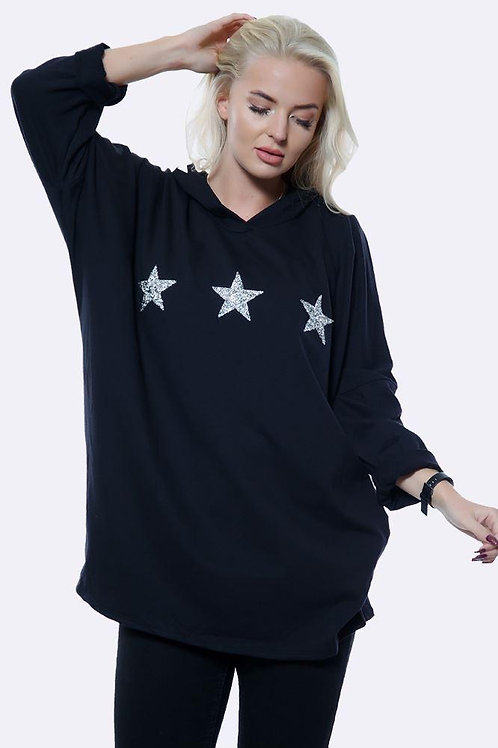 Black Italian 3 Diamante Star Motif Hoodie Top fitting up to size 16.   5112