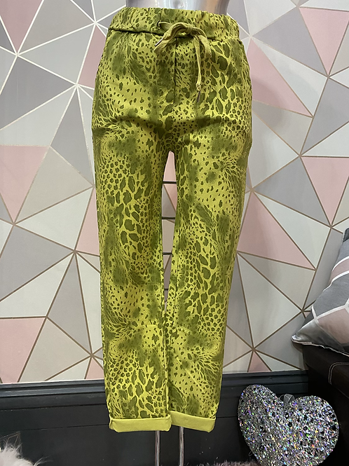 Lime Snake print Magic  Stretch Trousers fitting 10-20