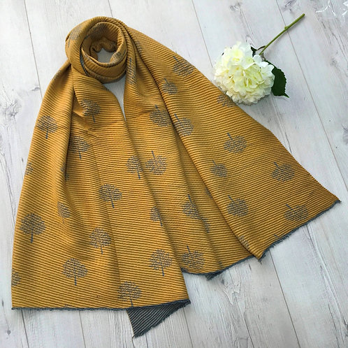 Mustard and grey mulberry tree scarf