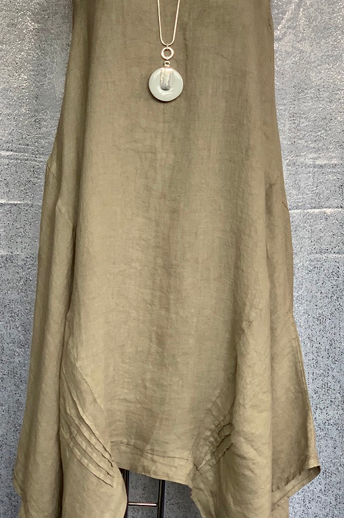 Mocha asymmetrical linen dress, fitting up to a size 16.     2202