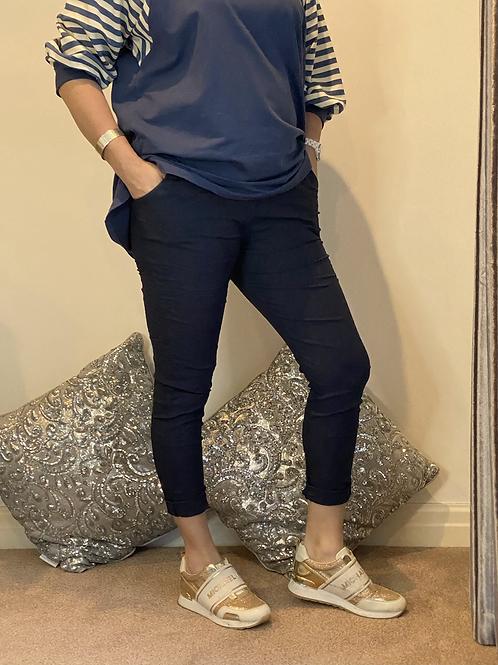 Navy  blue Magic Plain Super Stretch Crushed Trousers fitting 8-18