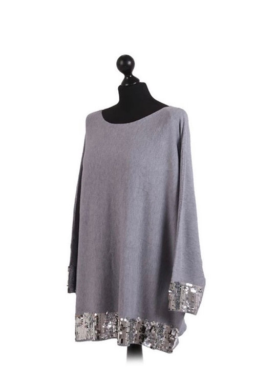 Sequin edged grey jumper / Top fitting up to a size 20