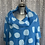 Thumbnail: Turquoise linen cowl neck spotty top fitting up to a size 24