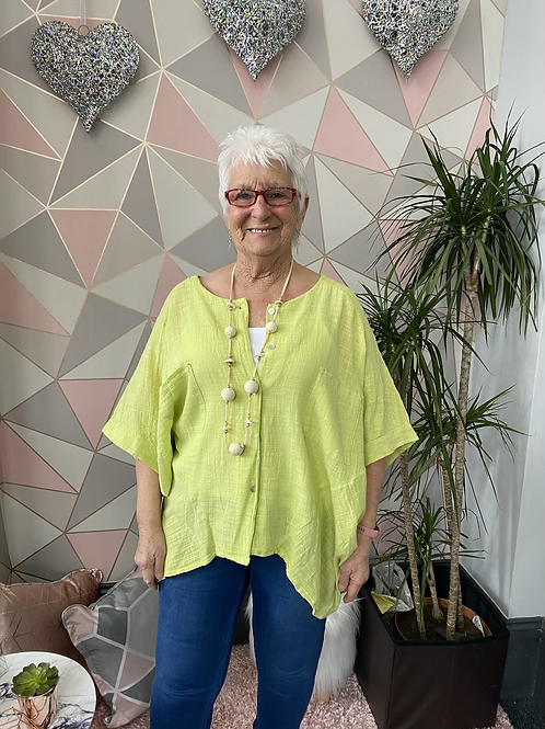 Lime button top/blouse, fitting up to a size 24