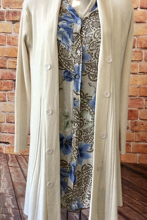 Cream ribbed cardigan with button detail