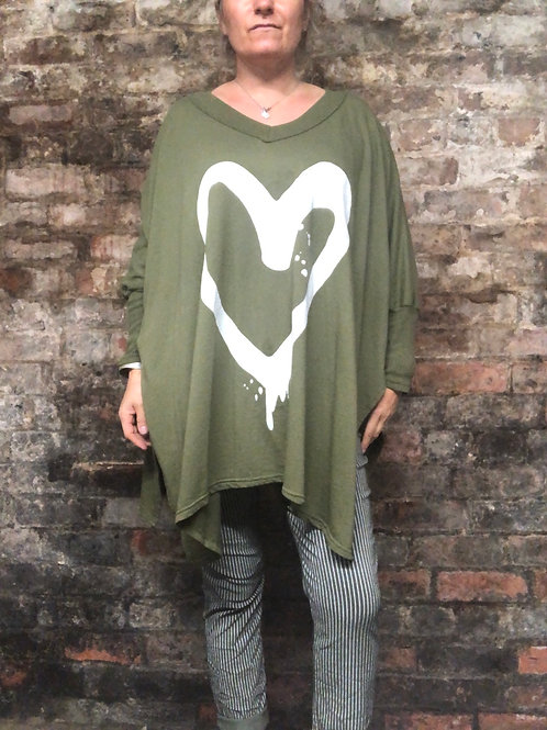 Khaki Heart front  oversized top fitting up to s size 24.       2401