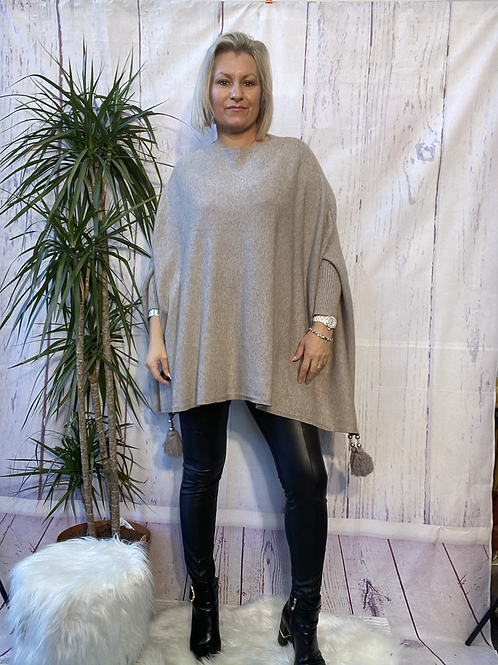 Oatmeal tassel detail poncho jumper fitting up to a size 24 6111