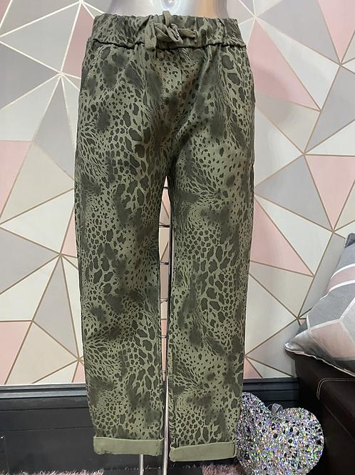 Khaki Snake print Magic  Stretch Trousers fitting 10-20