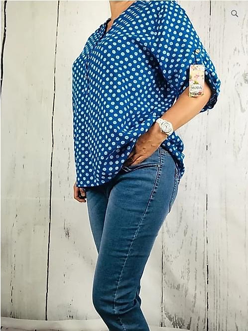 Royal blue  Dotty Cotton Blouse, Fitting up to a size 18