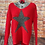 Thumbnail: Red chunky knit star jumper, fits sizes up to 14