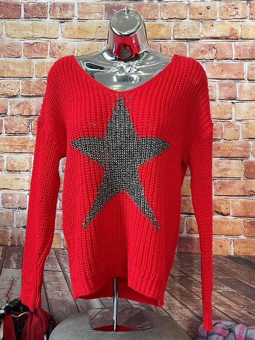 Red chunky knit star jumper, fits sizes up to 14