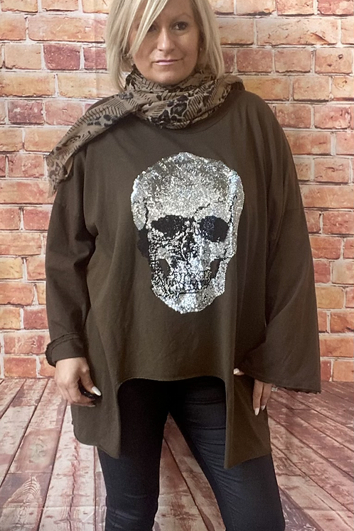 Chocolate quirky skull top, fits up to  size 20