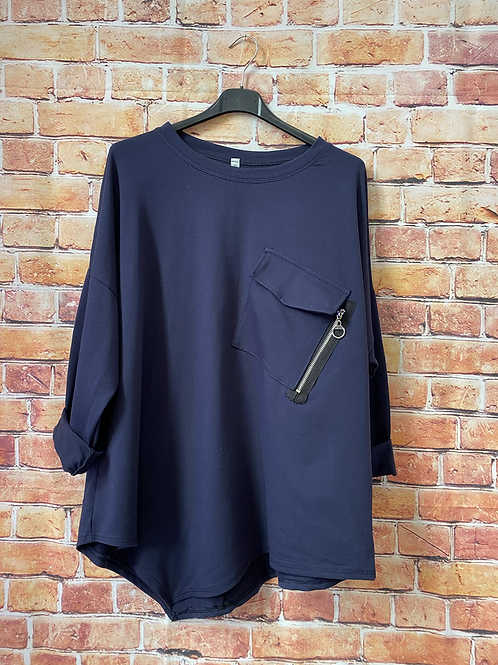 Navy zip pocket top fitting size 8-16