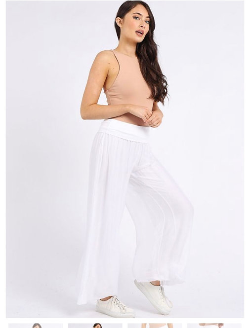 White Made in Italy Plain Classy Silk Palazzo Pant