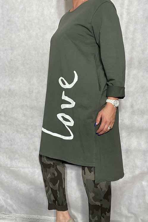Khaki Love top /tunic fitting up to a size 18.  2033