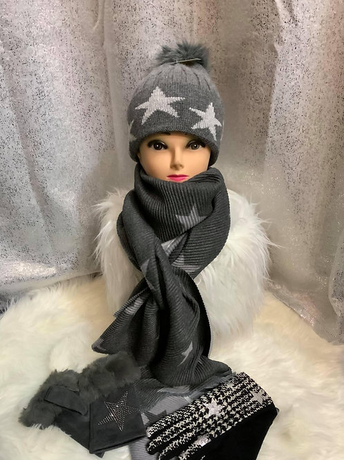 Seeing stars ⭐️ dark and light grey  crinkle super soft reversible scarf