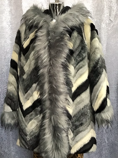 Zig Zag faux fur hooded coat fitting up to a size 18