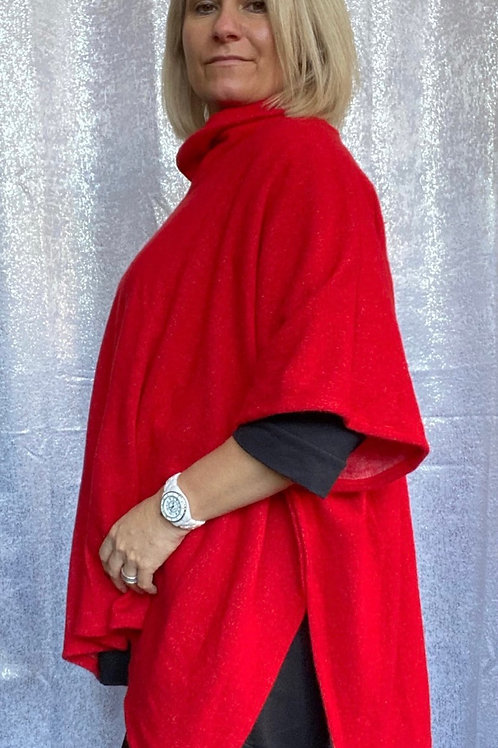 Red super soft poncho top fitting up to a size 22