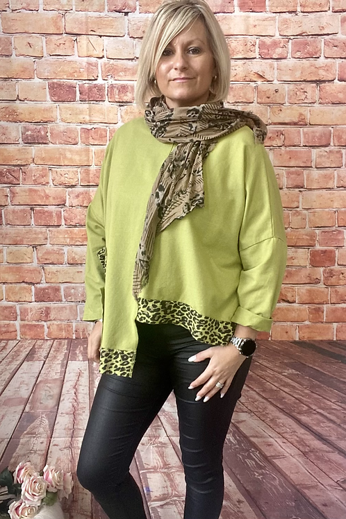 Lime animal print layering top, fitting sizes 12-22