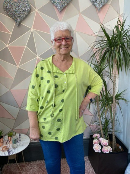 Lime sparkly dots top, fitting up to a size 22
