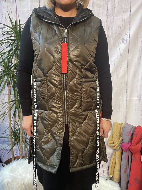 Khaki Gucci inspired gillet, fitting up to a size 18.   10114