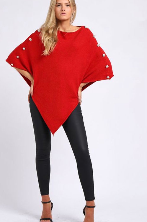 Red Made In Italy Classy Buttoned Sleeves Plain Poncho