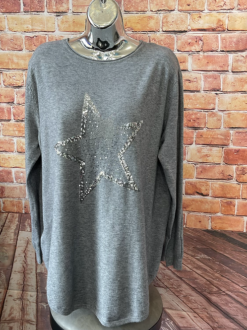 Grey Star in a Star soft knit jumper, fits sizes 12-18