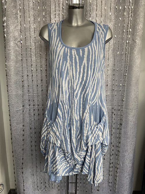 Sky Blue picket top fitting size 12 to 20