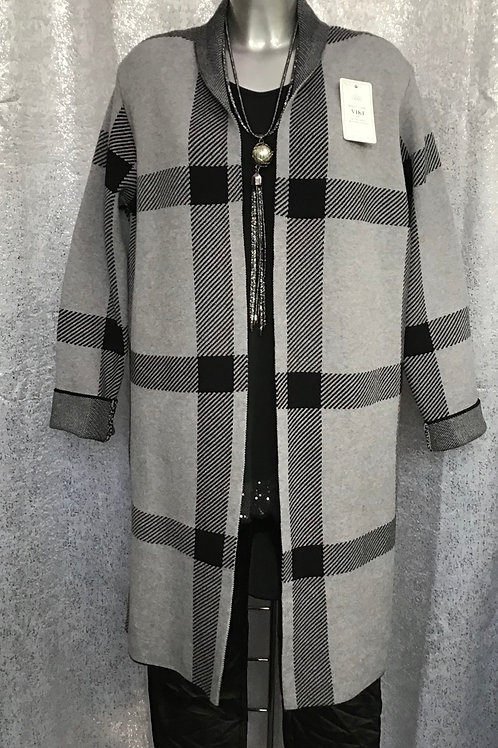 Grey and Black  check edge to edge cardigan fitting up to a size 18