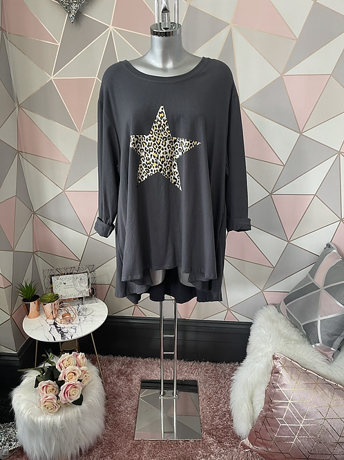 Charcoal foil animal print star fan back, fitting up to a size 22