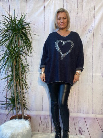 Navy super soft sequin heart top, fitting up to a size 22.   5111
