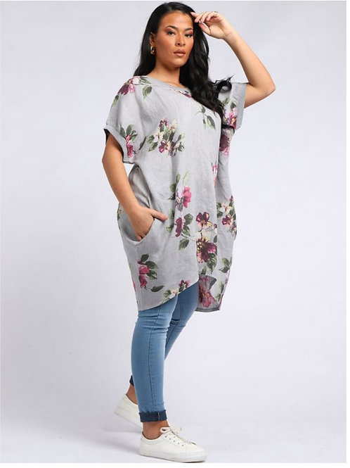 Grey Italian Floral Linen oversized tunic fitting size 18-26