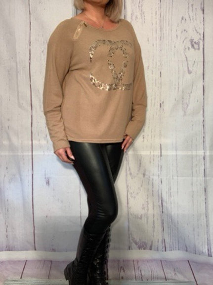Tan Gucci inspired top fitting up to a size 18