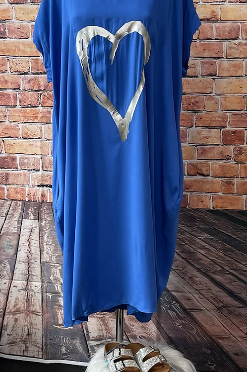 Royal Blue Foil Heart  Dress Fitting up to a size 24. 009
