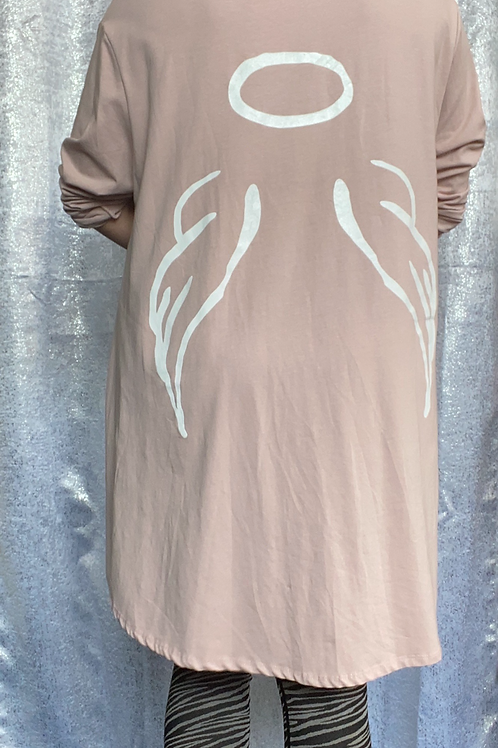 Pink angel fan back top fitting up to a size 24  0808