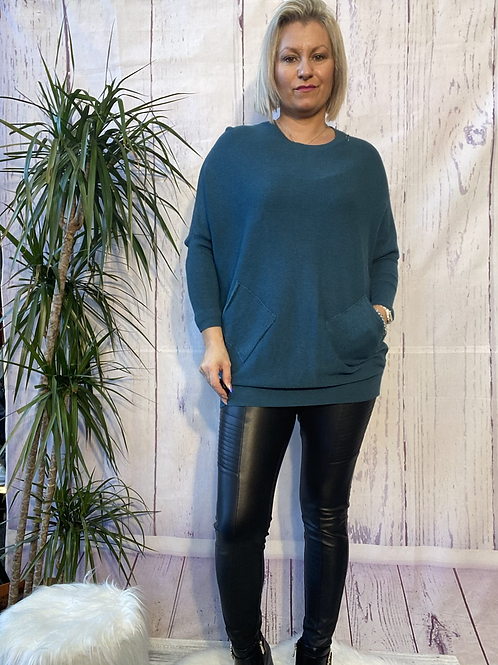 Teal criss cross detail jumper fitting up to a size 18 6516