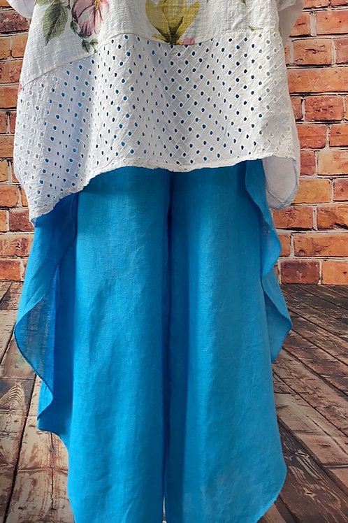 Turquoise quirky linen trousers, size 8-16