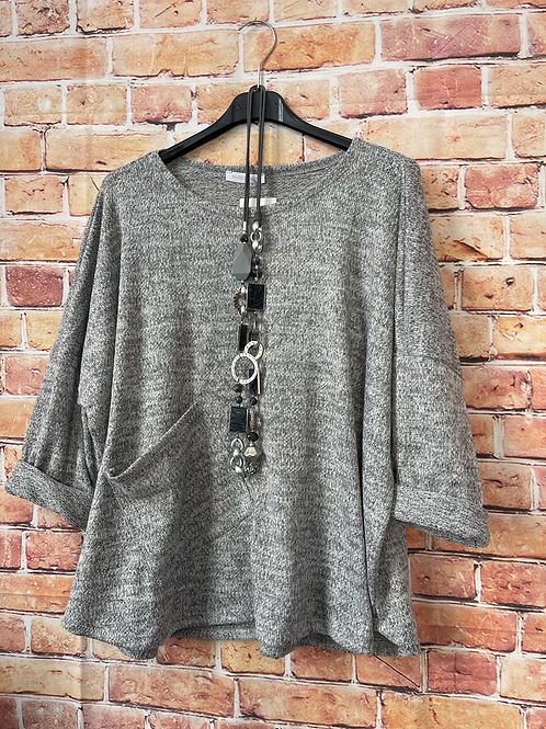 Grey quirky one pocket top