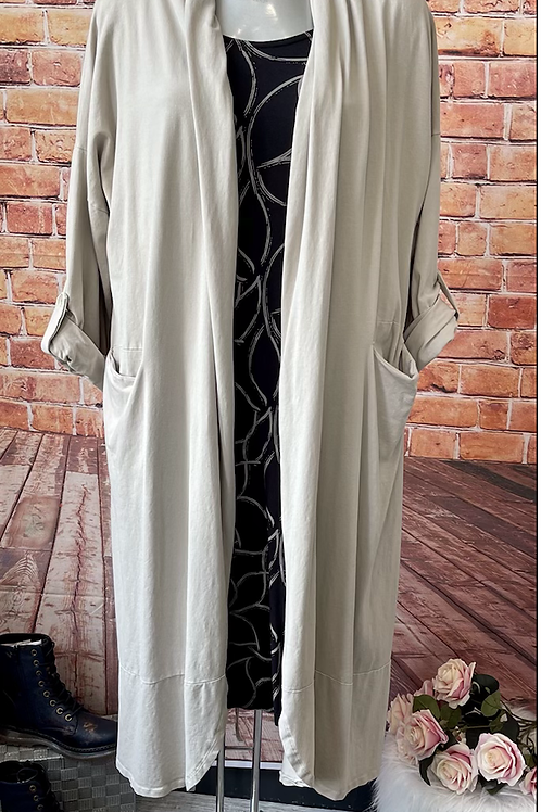 Beige cardigan with drawstring at the back