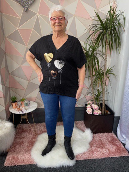 Black balloon heart top, fitting up to a size 16