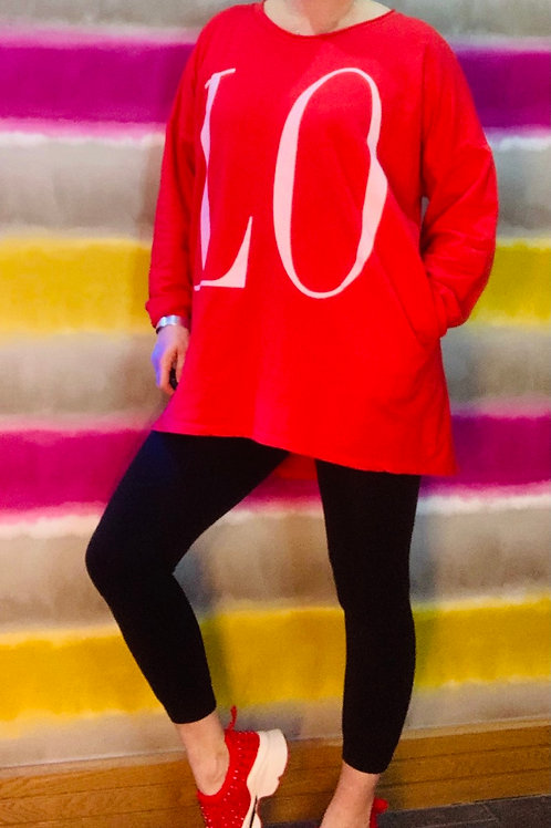 Red LOVE top fitting up to a size 18