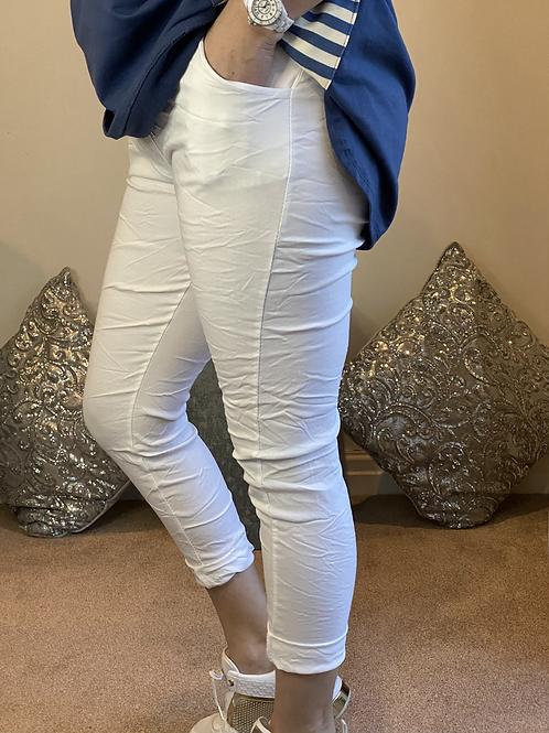 White Magic Plain Super Stretch Crushed Trousers fitting 8-18