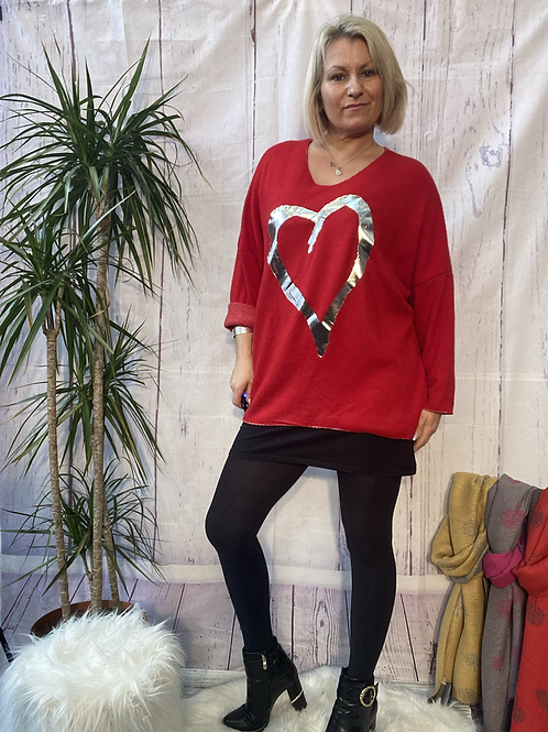 Red super soft foil heart top, fitting up to a size 22.   10119