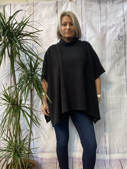 Black super soft poncho top fitting up to a size 22.    16119