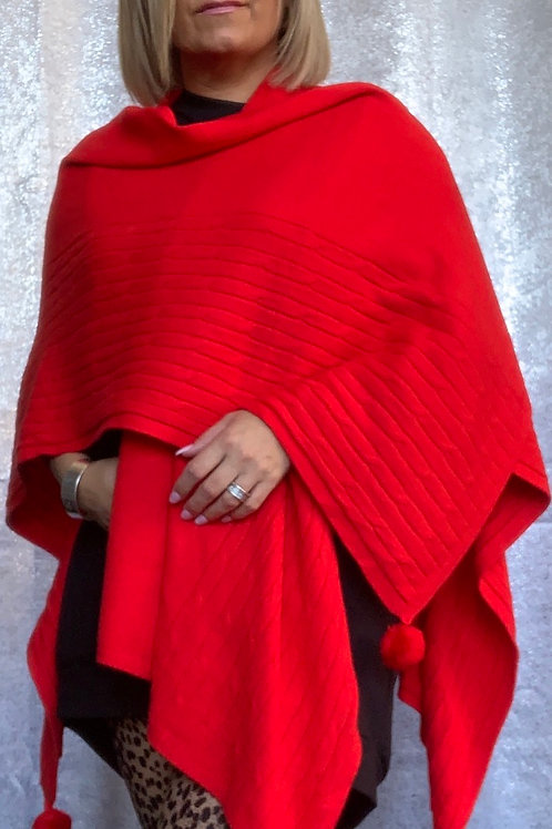Red Super soft cape / wrap fitting everyone