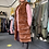 Thumbnail: Tan knee length  faux fur hooded gilet fitting up to a size 16