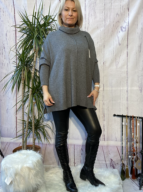 Grey roll neck oversized jumper, fitting up to a size 20.   9112