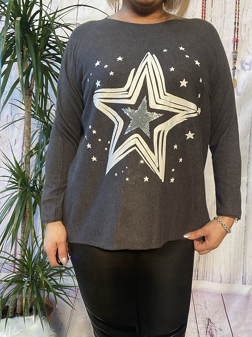 Charcoal Starry jumper, fitting sizes 10-18.     12116