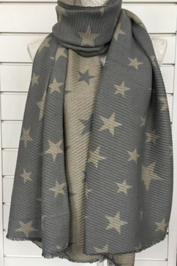 Seeing stars ⭐️ cream and grey  crinkle super soft reversible scarf