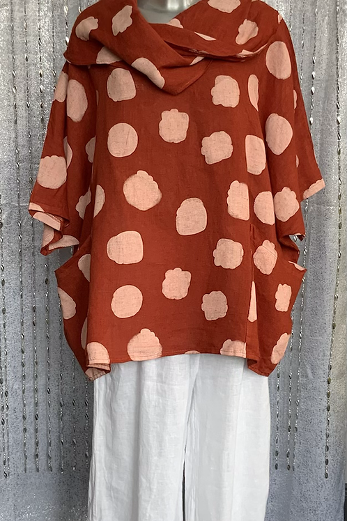 Rust  linen cowl neck spotty top fitting up to a size 24